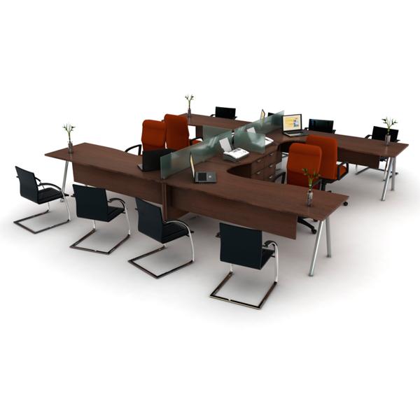 Conjunto operativo con paneles de cristal haken for Muebles de oficina haken