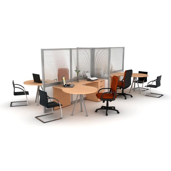 Estacion de trabajo con mamparas altas haken for Muebles de oficina haken