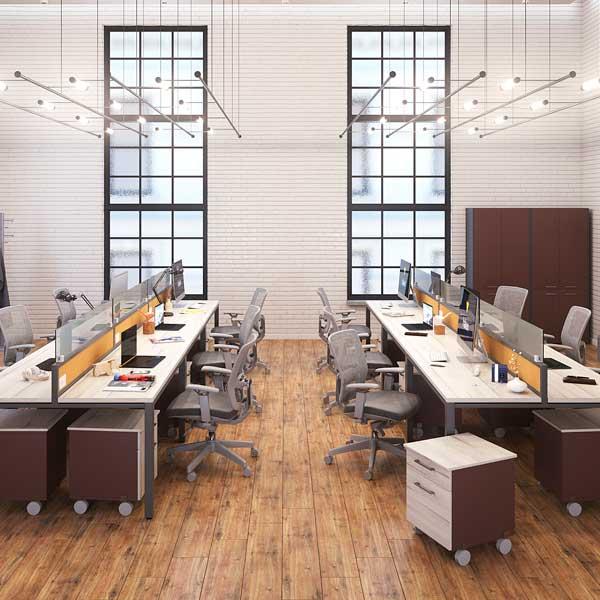 Conjunto operativo plano hk for Muebles de oficina haken